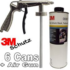 6 x 3M Car Body Schutz - Black Underseal + Underbody Coating Gun 08861