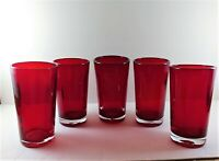 Set of 5 Pier 1 Imports Ruby Red Drink Glasses Tumblers 16 Ounces Large Heavy