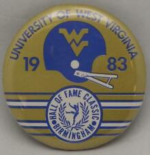 """Vintage West Virginia Mountaineers 1983 Hall Of Fame Bowl 2.25"""" Button Rare Fin"""