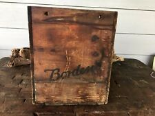 Vintage BORDEN Milk DAIRY WOOD CRATE BOX Rare Early