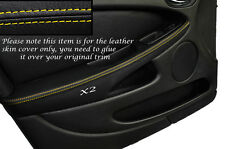 YELLOW STITCH 2X FRONT DOOR ARMREST SKIN COVERS FITS JAGUAR X TYPE 01-09