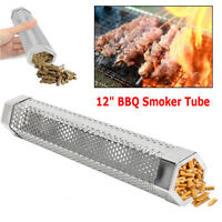 """12"""" wood pellet smoker tube BBQ stainless steel hot / cold smoking ships frm USA"""