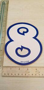 "old school ZeroNine BMX White & Blue number plate # 8 NOS 6.5"" big fat wide"