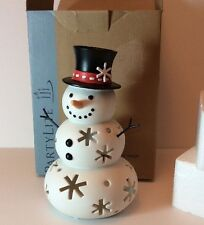 "Partylite Mr Snow Snowman Tealight Candle Holder 8"" Snowflake Frosty P91250 Box"