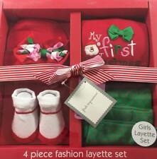 Infant Girl 0- 6 M Month First Christmas Top Pant Hat Outfit Layette Gift Set