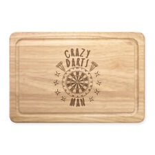 Crazy Darts Man Stars Rectangular Wooden Chopping Board - Funny Fathers Day Dad