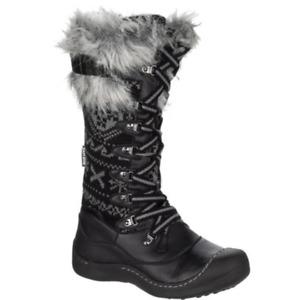 Muk Luks Gwen Polyester/Faux Fur Winter Snow Boots Black Womens Size 9