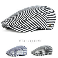 100% Cotton Men's Stripe Flat Cap Ivy Hat Newsboy Gatsby Cap Beret Driver Cabbie