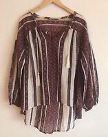 Denim 24/7 Women plus size 32W Blouse Semi Sheer chiffon TUNIC Shirt Top Floral