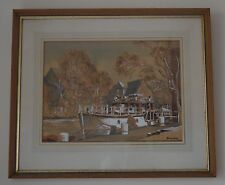 Ronald Dean (British 1929) Harbour Scene Boat on Dock Large Watercolour Signed