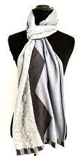 MIssoni | Womens Scarf| Slate Blue |Navy| Ivory Chevron Pattern Metallic Threads