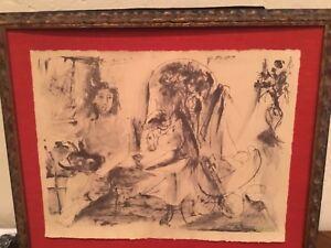 Picasso lithograph Jeune Faune Femme et Enfante 1936 green signature edition 500