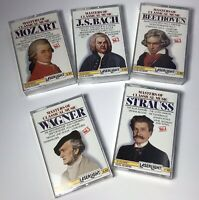 Set Of 5 Vol. Classical Music Cassettes Wagner Strauss Beethoven Bach Mozart