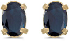 14k Yellow Gold Oval Sapphire Earrings (CM-E1551X-09)