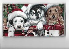 HUSKY CHECKBOOK COVER FABRIC CHRISTMAS SANTA HATS DOGS PUPPY