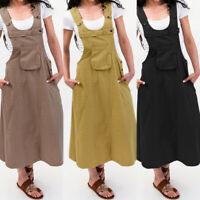 UK Women Sleeveless Strappy Cotton Dress Overalls Casual Pinafore Dungaree Dress
