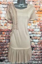 NEW NEXT 10 Nude Blush Pink Frill Front Net Hem Short Sleeve Short Jersey Dress