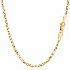 14K Yellow Gold Round Rolo Link Chain Bracelet - Width 2.3mm - Length 7 Inch