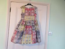 10-11 yrs: Pretty summer dress: Pink/grey/yellow buildings: Cotton/Lined
