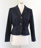 Tahari ASL Levine Dark Blue Denim Color Blazer Jacket Size 6P P6 Beaded Buttons