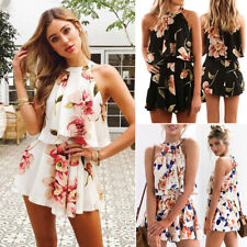 b880bb820c UK Womens Floral Holiday Mini Playsuit Ladies Jumpsuit Summer Beach Dress  Shorts