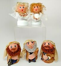 Flower Pot Nativity Figurines 2 Angels 3 Wise Men Mini Handmade Christmas 3.5""