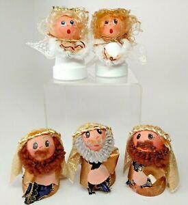 "Flower Pot Nativity Figurines 2 Angels 3 Wise Men Mini Handmade Christmas 3.5"""