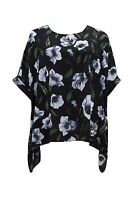 New Ladies Emily Black Green Floral Print Plus Size Kimono Top
