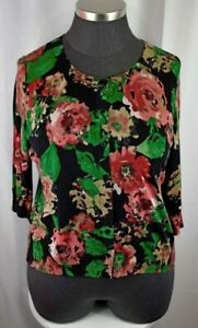 Talbots Red and Black Floral 3/4 Sleeve Button Cardigan Sweater Plus Size 2X
