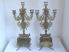 Antique French Brass Candlelabra's 5 Arm with Gargoyles
