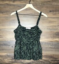 NWT Hollister Green & Black Zebra Print Babydoll Tank Top Womens/Juniors Size M
