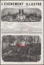 1871 - GRAVURE Les ruines des tuileries à  CHAILLY SOUS BOIS  Engraving  - 11h