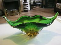 Murano green and amber glass centrepiece bowl