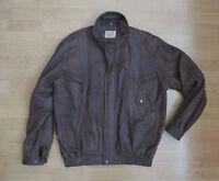 Men's Large Vintage LLD Leather Jacket Coat Brown Biker Style R8-24