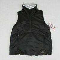 New Balance Women's Black Half-Zip Warm Vest WV83130 Black & Silver Running