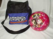 POWERPUFF GIRLS Pink VIZ A BALL 9 lbs BRUNSWICK cartoon network BOWLING w/ CASE