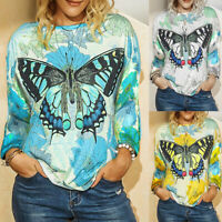 ❤️ Womens Long Sleeve Butterfly Print T Shirt Tops Ladies Causal Pullover Blouse