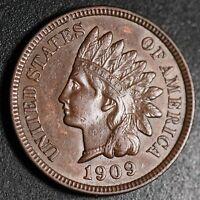1909 INDIAN HEAD CENT - With LIBERTY & Near 4 DIAMONDS - AU UNC
