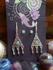Aquamarine & 925 Silver coated bohemian triangle earring & stud sets E6