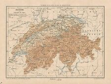 C9093 Suisse - Switzerland - Cartina geografica antica - 1892 antique map