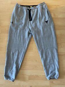 Under Armour Project Rock Warm-Up Fleece Sweat Pants 1346068-011 Gray Size XL
