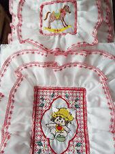 NEW- Dolls,Embroidered-Doll Motif, Bedding Set - cot/pram/bed.