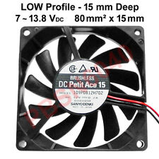 (2) Low Profile, Brushless Fans 80 mm² x 15 mm Deep, 7 to 13.8 Vdc