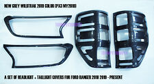Grey Wildtrak MY2019 Headlight Taillight Covers Trim fOR Ford Ranger PX3 18-20
