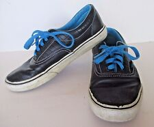 Vans Leather Low Mens Size 8 Blue Off The Wall Skate Shoes