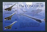 St Vincent & The Grenadines 2003 MNH Concorde Routes 3v M/S Air France Stamps