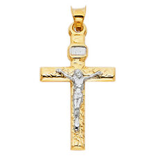 14K  Solid Yellow White Gold Crucifix Cross Religious Pendant Men Women