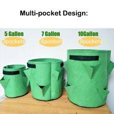 5 10 Gallon Fabric Strawberry Planter Bag Garden Flower Herb Veg Grow Pouch pot