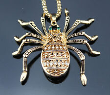 X55 Betsey Johnson Crystal Enamel Spider Pendant Sweaters Chain Necklace