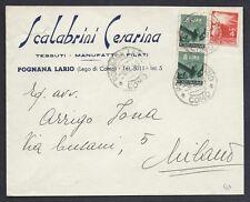 STORIA POSTALE REPUBBLICA 1951 Lettera da Pognana Lario per Milano (C6)